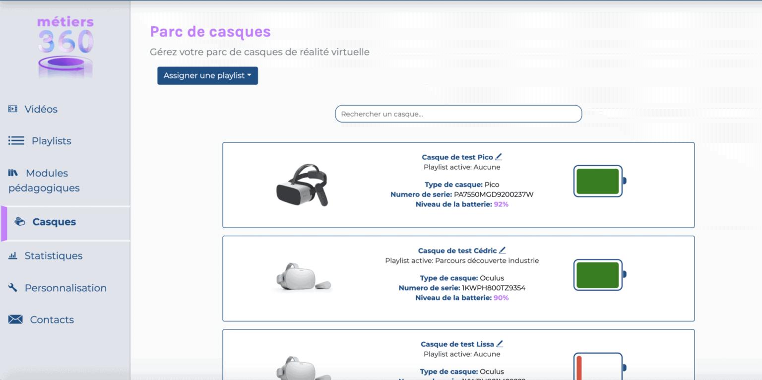 Gestion d'un parc de casque de réalité virtuelle